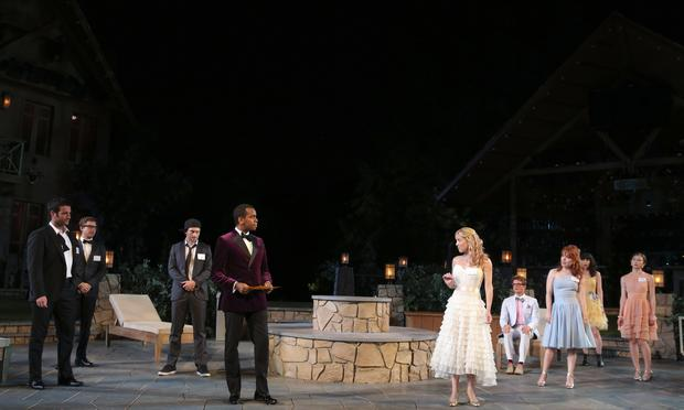 The cast of The Public Theater's Shakespeare in the Park production of 'Love's Labour's Lost' at the Delacorte Theater.