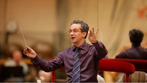 Fabio Luisi in a rehearsal with the Metropolitan Opera Orchestra on April 27, 2010.