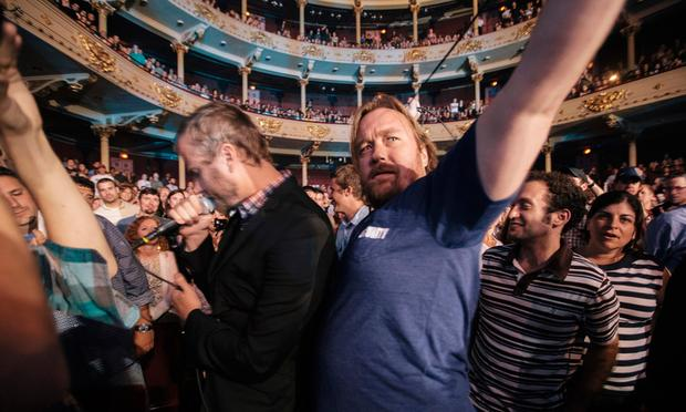Tom Berninger, right, with his brother, Matt, left, of the National.