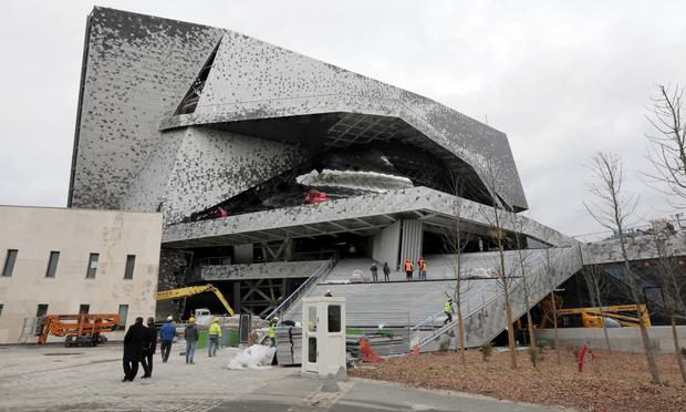The Philharmonie de Paris, under construction in the Parc de la Villette, in northeast Paris, seen on January 12, 2015.