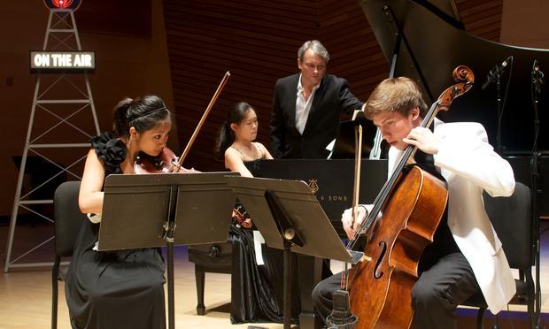 Alumni Piano Trio: Haruno Sato, violin,  Adria Ye, piano,  Austin Huntington, cello.