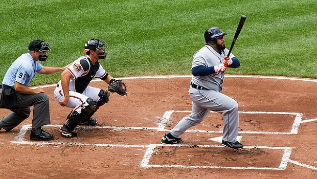 Prince Fielder at bat against the Orioles in July 2012