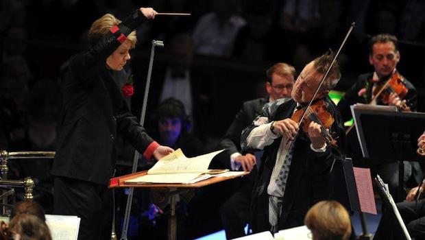 Conductor Marin Alsop and violinist Nigel Kennedy at the Last Night of the Proms
