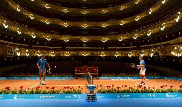 Spanish players Rafael Nadal (L) and David Ferrer play inside the Gran Teatre del Liceu in Barcelona on April 21, 2014 ahead of the Barcelona Open tennis tournament.