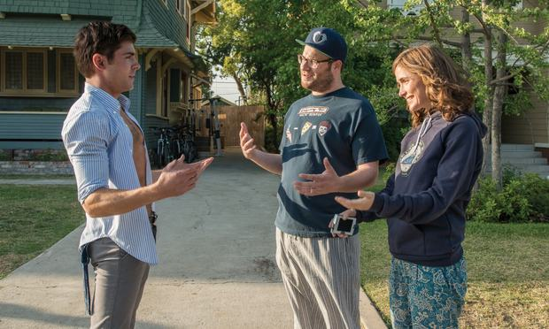 (Left to right) Zach Efron, Seth Rogen, and Rose Byrne in Neighbors