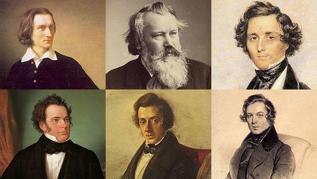 Liszt (clockwise), Brahms, Mendelssohn, Schumann, Chopin, Schubert.