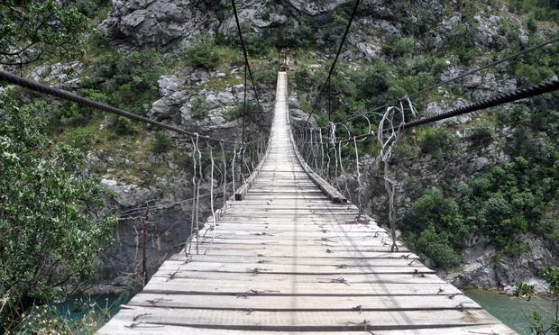 A narrow rope bridge