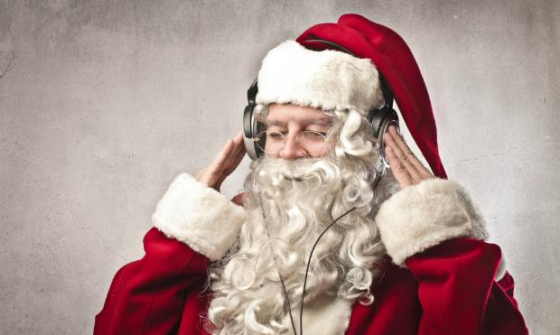 Santa Claus listens to WQXR
