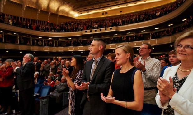 An audience at Severance Hall in Cleveland