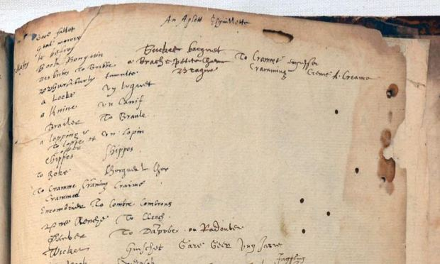Booksellers claim they have found a dictionary which belonged to William Shakespeare. On this page, they believe he wrote a mixture of French and English words, also used in his plays.