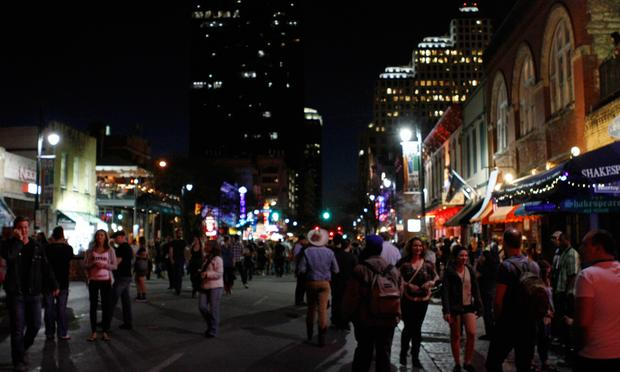 Late Tuesday night on Sixth Street in Austin, Texas during South By Southwest 2013.