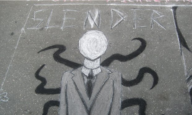 A chalk drawing of Slender Man in Raleigh, NC