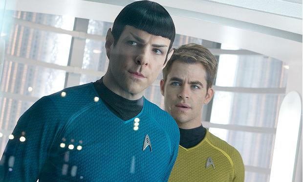 Zachary Quinto as Spock and Chris Pine as James T. Kirk in 'Star Trek Into Darkness'