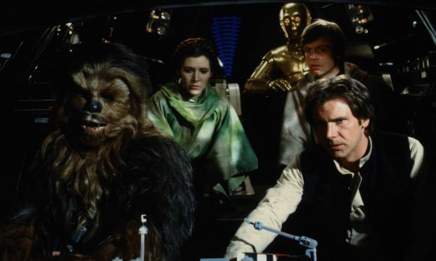 Chewbacca, Princess Leia, C3PO, Luke Skywalker and Han Solo in 'Star Wars'