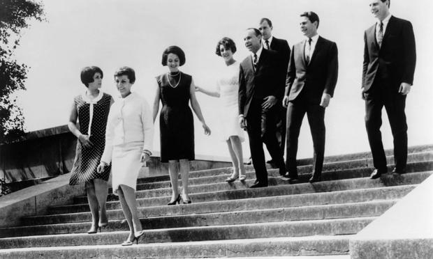 1960's portrait of the Swingle Singers (Ward Swingle is third from right)