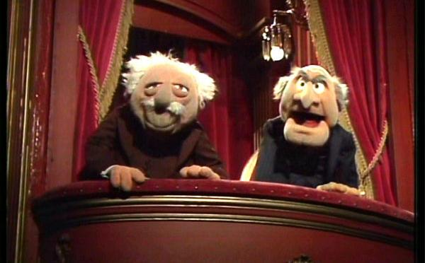 Statler and Waldorf share the stage left balcony box in the Muppet Theater