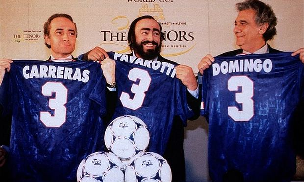 The Three Tenors hold their soccer jerseys in the early 1990s