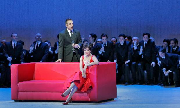 Marina Rebeka as Violetta and Stephen Costello and Alfredo in Verdi's 'La Traviata'