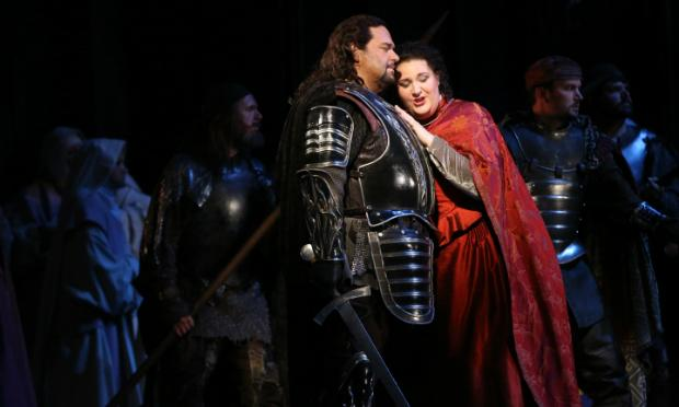 Marco Berti as Manrico; Tamara Wilson as Lenora in Verdi's 'Il Trovatore'
