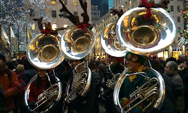 Tuba players gather at Rockefeller Center for Tuba Christmas