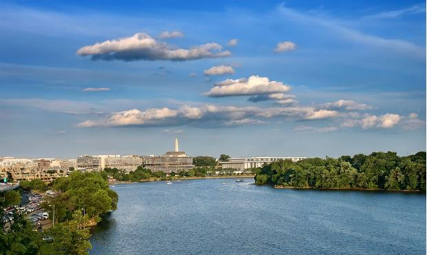 The Patomic River with the Kennedy Center in Washington, DC