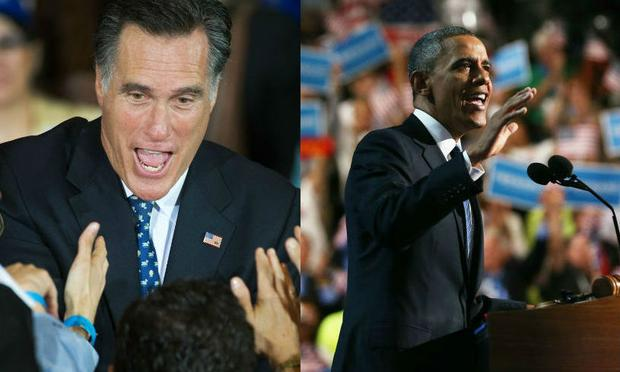 Mitt Romney and Barack Obama at their respective 2012 conventions