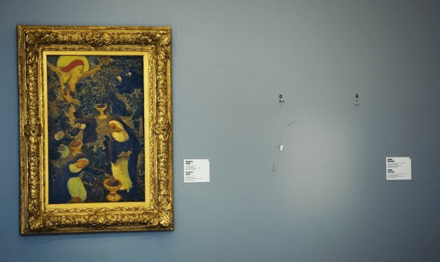 An empty space is seen on October 16, 2012 where a painting by Henri Matisse once hung at the Kunsthal museum in Rotterdam. The painting was one of seven masterpieces stolen in a pre-dawn heist.