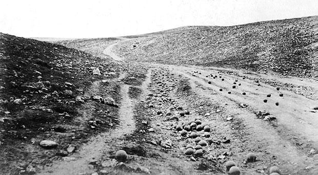 Restoration of an 1855 photo by Roger Fenton at the 'Valley of the Shadow of Death,' cannonballs on the road
