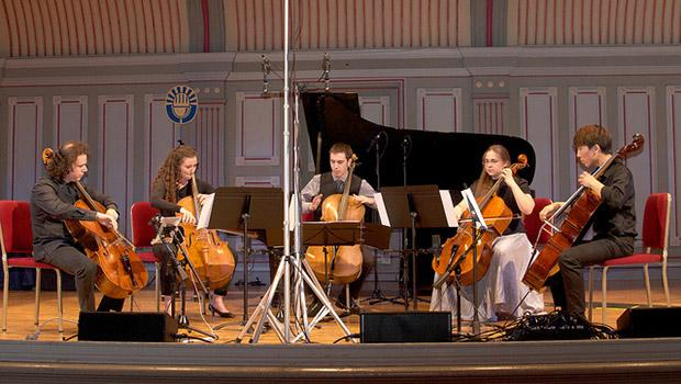 Matt Haimovitz, Miriam Liske-Doorandish, Taeguk Mun, Bryan Holt and Leana Rutt perform 'Open Country Joy' For Five Cellos by John McLaughlin.