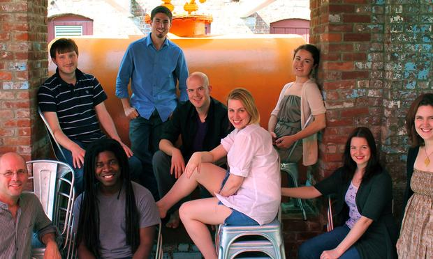 The vocal ensemble Roomful of Teeth, founded and directed by Brad Wells (left).