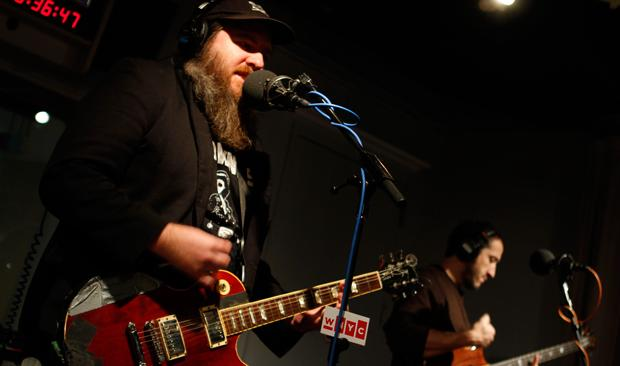 Pinback performs live in the studio.