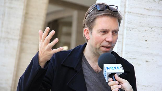 Pianist Leif Ove Andsnes speaks to WQXR in the Lincoln Center plaza.