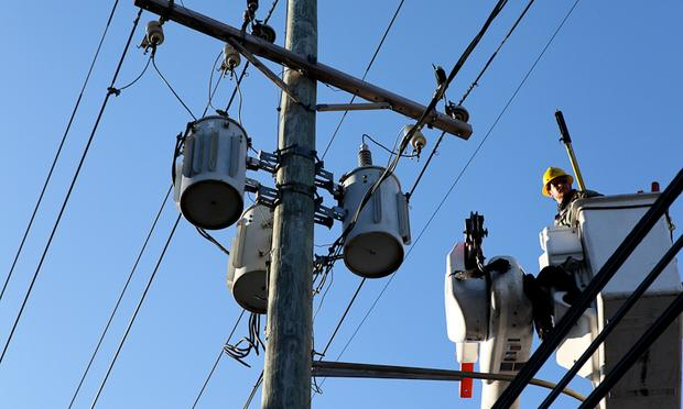 LIPA workers in Far Rockaway trying to restore power after Hurricane Sandy.