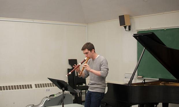 Recorder player Bryan Duerfeldt at rehearsal.