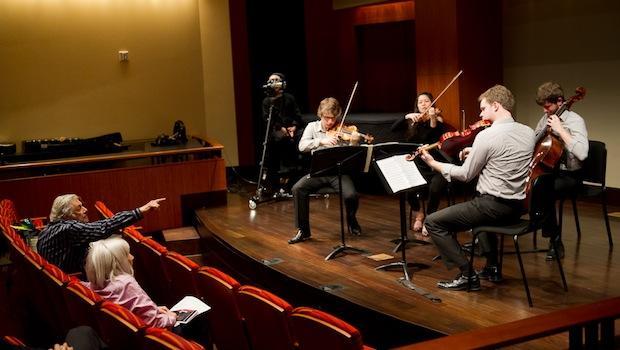 Robert Mann coaches the Aeolous Quartet