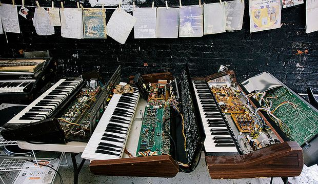 Vintage synthesizers destroyed by Hurricane Sandy at music non-profit organization New Amsterdam.