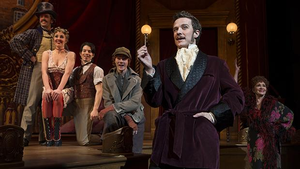 Eric Sciotto (left to right), Shannon Lewis, Kyle Coffman, Nicholas Barasch, Will Chase and Chita Rivera in 'The Mystery of Edwin Drood.'