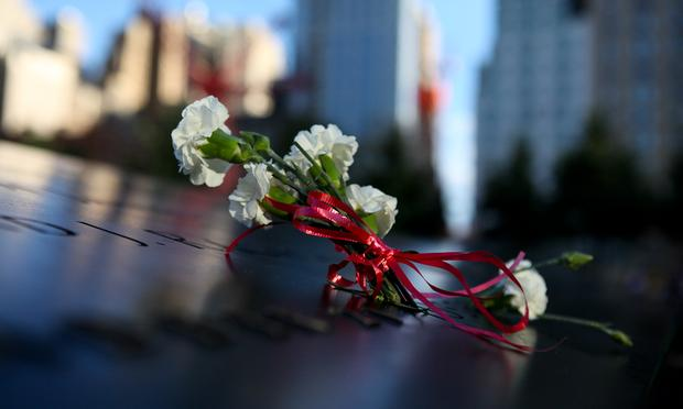 Flowers at the 9/11 Memorial pools. World Trade Center site.