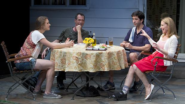 Sarah Sokolovic (left to right), Darren Pettie, David Schwimmer and Amy Ryan in 'Detroit' at Playwrights Horizons.