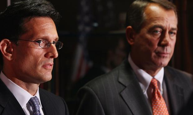 House Majority Leader Eric Cantor and Speaker of the House John Boehner (R-OH) hold a news conference after a meeting at the Republican National Committee offices July 26, 2011.