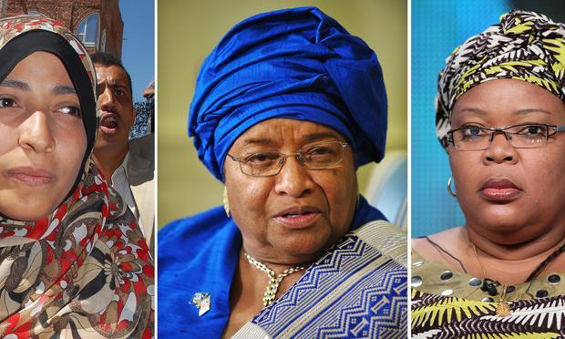 emen's Arab Spring activist Tawakkul Karman, Liberian President Ellen Johnson Sirleaf and Liberian 'peace warrior' Leymah Gbowee