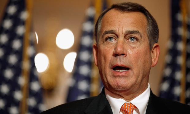 Speaker of the House U.S. Rep. John Boehner (R-OH) answers reporters' questions during a brief news conference on the payroll tax vote