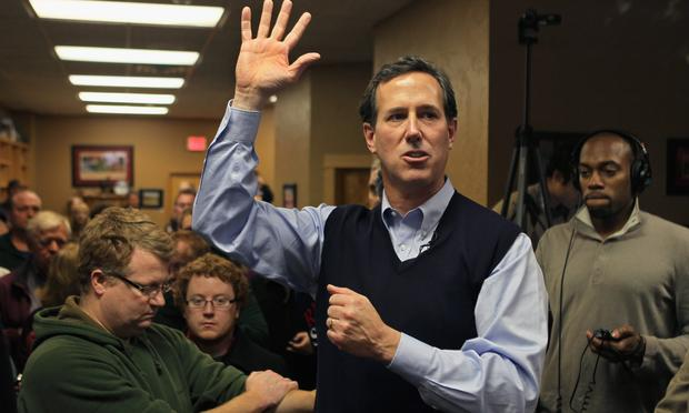 Republican presidential candidate former U.S. Senator Rick Santorum (R-PA) speaks during a campaign stop at the Daily Grind coffee shop on January 1, 2012 in Sioux City, Iowa.