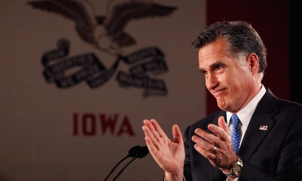 Republican presidential candidate, former Massachusetts Gov. Mitt Romney, speaks at the Hotel Fort Des Moines on the night of the Iowa Caucuses January 3, 2012 in Des Moines, Iowa.