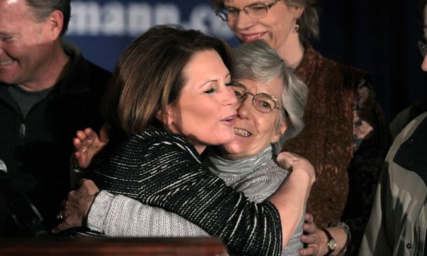 Rep. Michele Bachmann (R-MN) hugs her mother Jean LaFave after announcing during a news conference she is ending her campaign for Republican presidential candidate