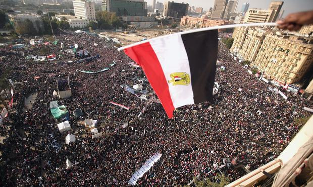 Egyptians gather in their thousands in Tahrir Square to mark the one year anniversary of the revolution on January 25, 2012 in Cairo Egypt