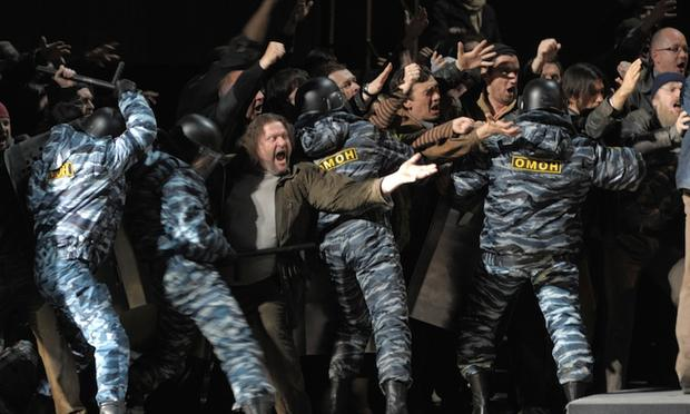 Actors, some of them wearing uniforms of present-day Russia's or OMON riot police, take part in a new production of 'Boris Godunov' at the Mariinsky Theatre in Saint Petersburg