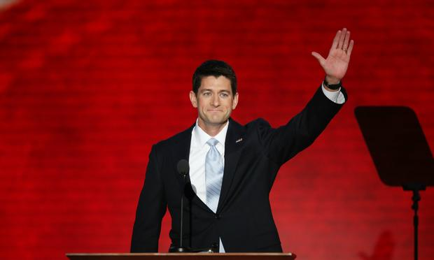 Republican vice presidential candidate, U.S. Rep. Paul Ryan addresses the crowd at the Republican National Convention.