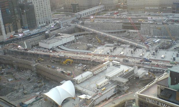 Construction at the World Trade Center site in April 2008