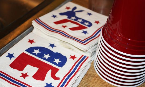 Republican elephant and Democratic donkey napkins